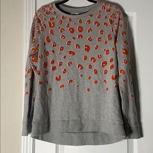 orange and gray leopard sweatshirt